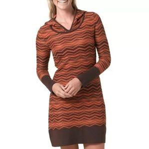 Prana Meryl Hooded Sweater Dress L Orange Chevron